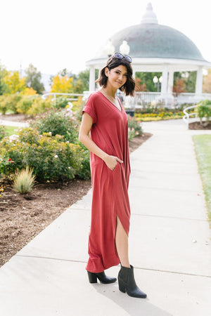 Free And Easy Maxi Dress In Rust