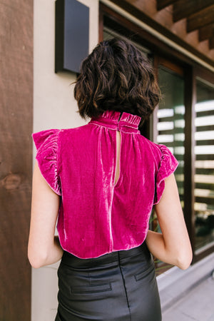 Fuchsia Velvet Mock Neck Top