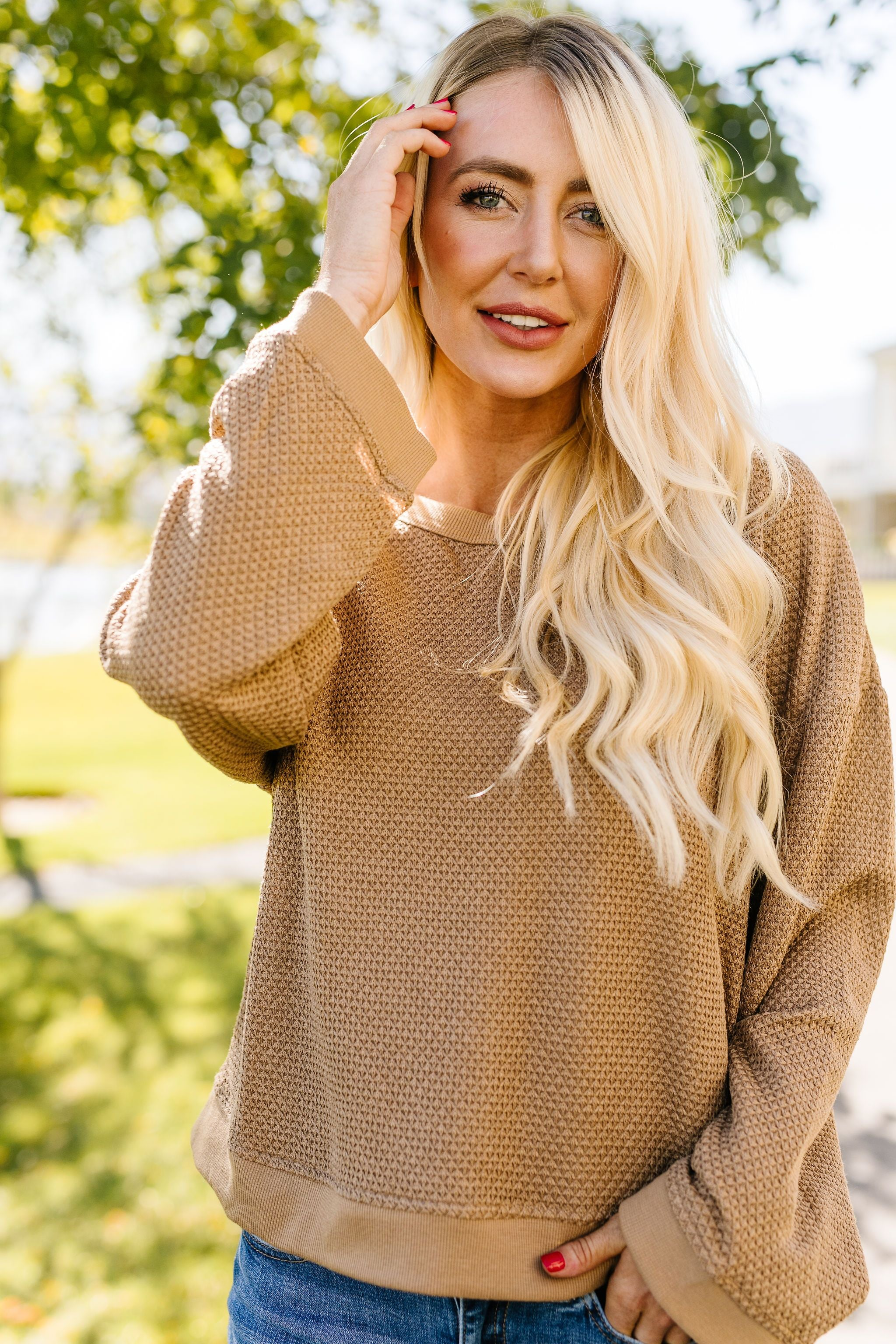 Golden Wheat Waffle Knit Pullover