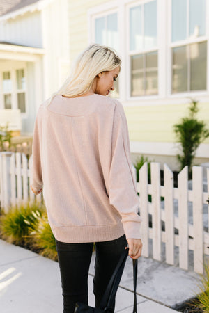 Magnificent V-Neck Top In Taupe