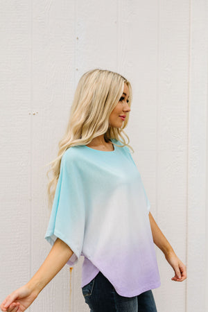 Middle Ground Ombre Top In Aqua