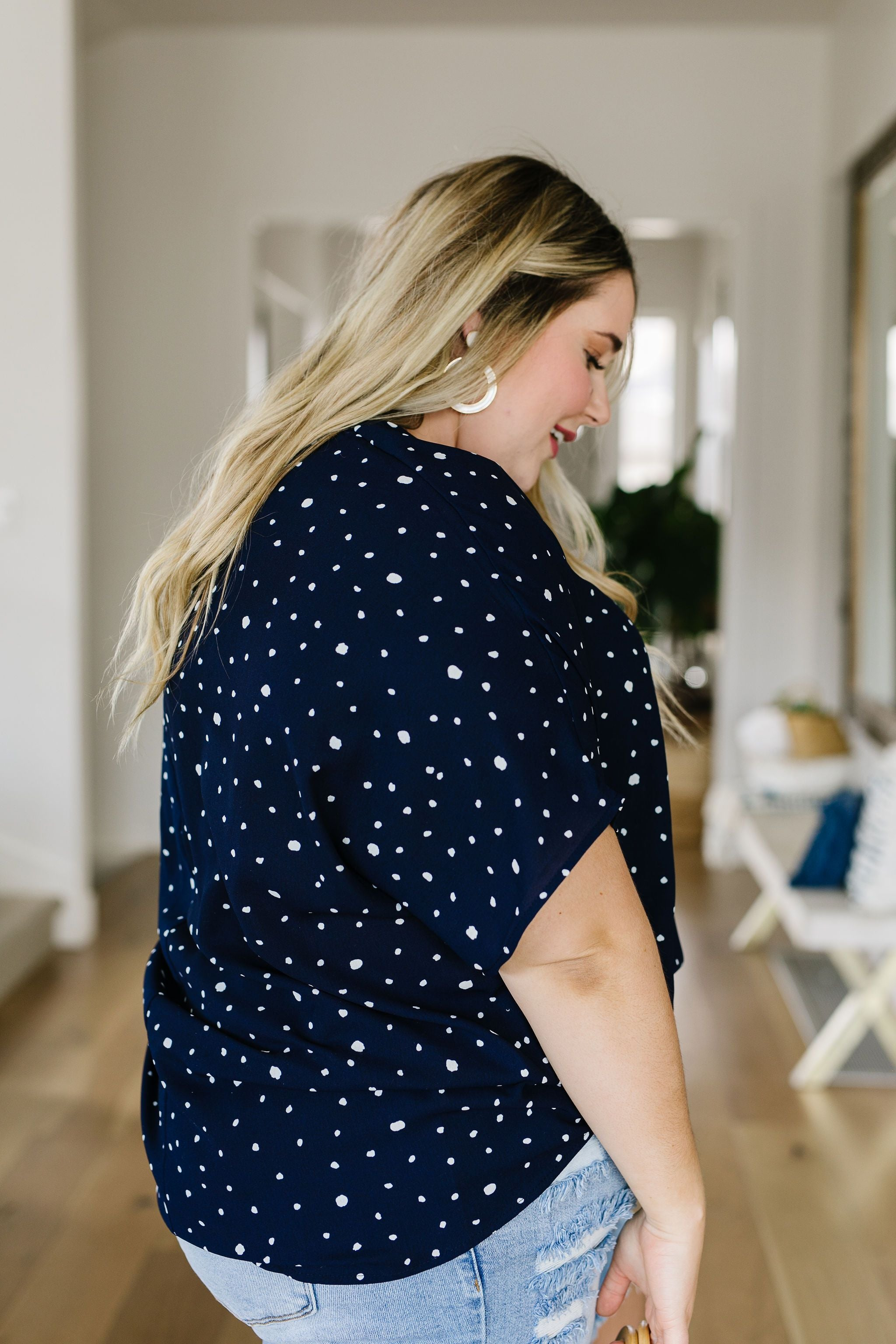 On The Dot Blouse In Navy