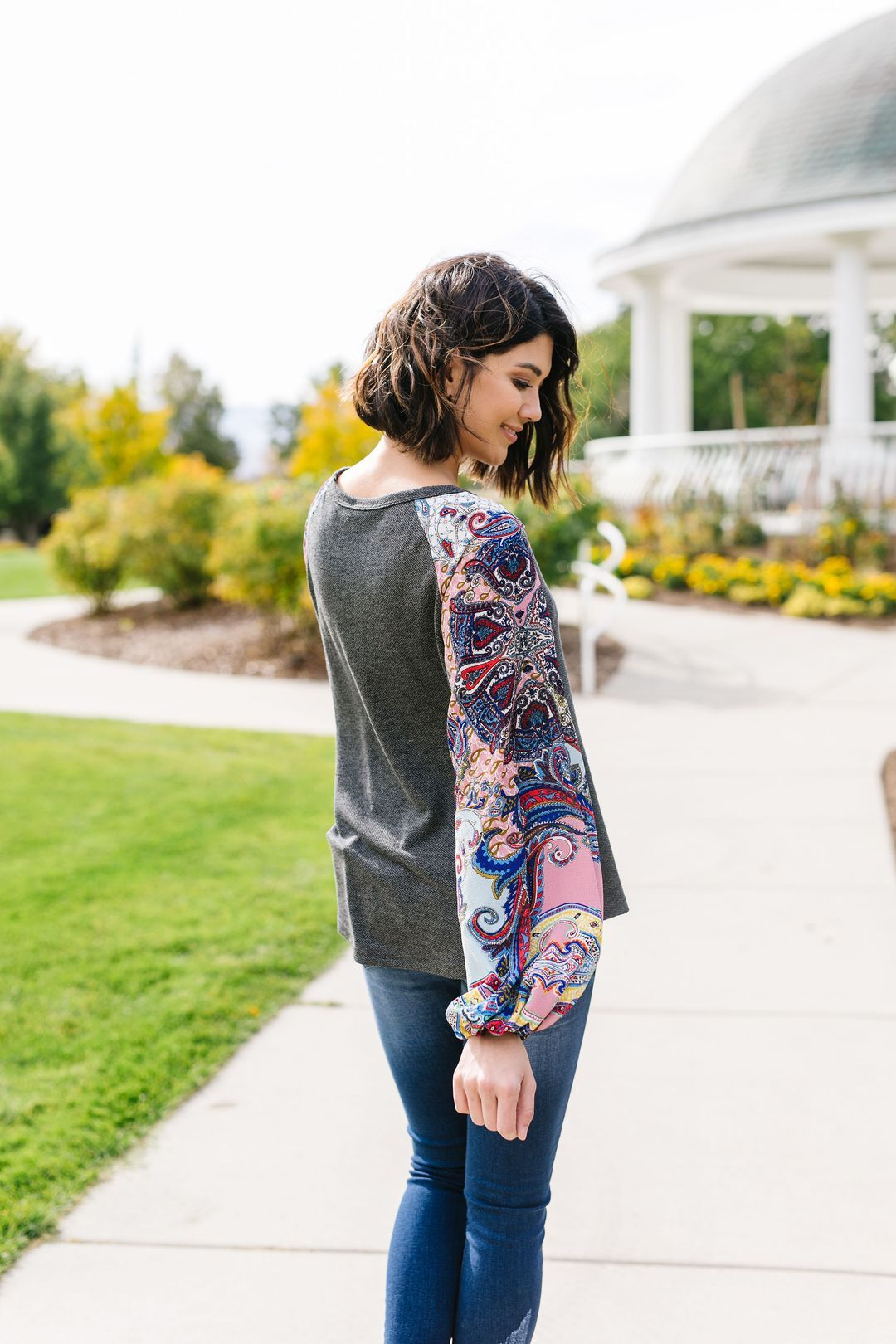 Paisley Patchwork Sleeve Top