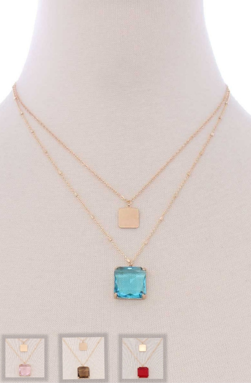 Double Square Pendant Necklace in Turquoise, Pink, Brown & Red
