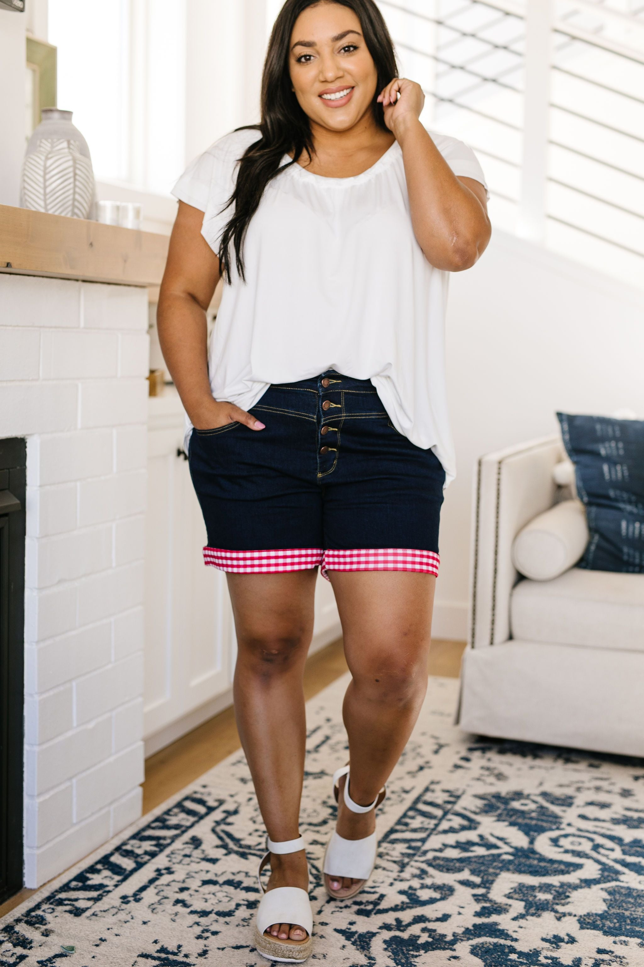 Picnic Lunch Gingham Trimmed Shorts