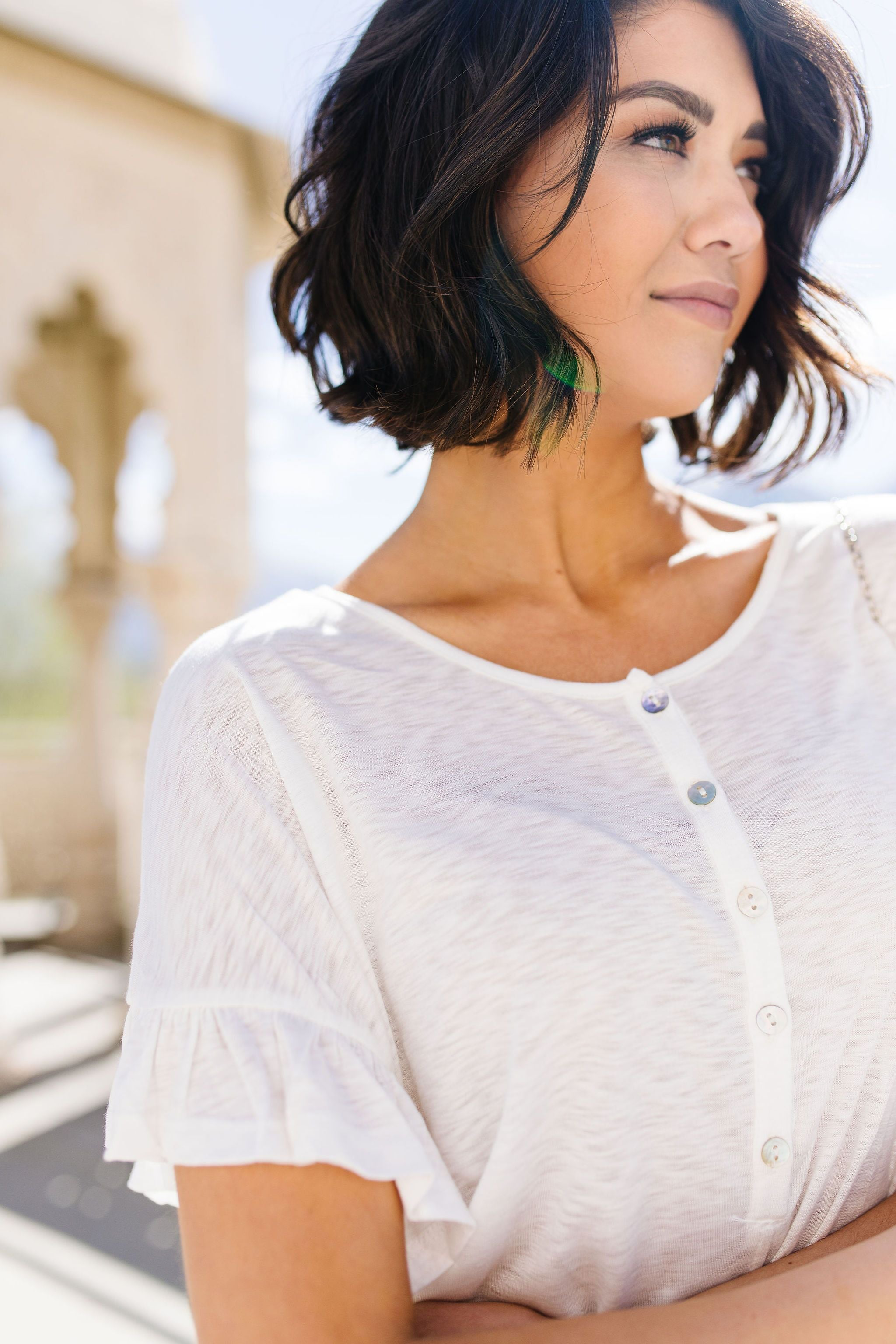 Ruffled Sleeve Button Down In White