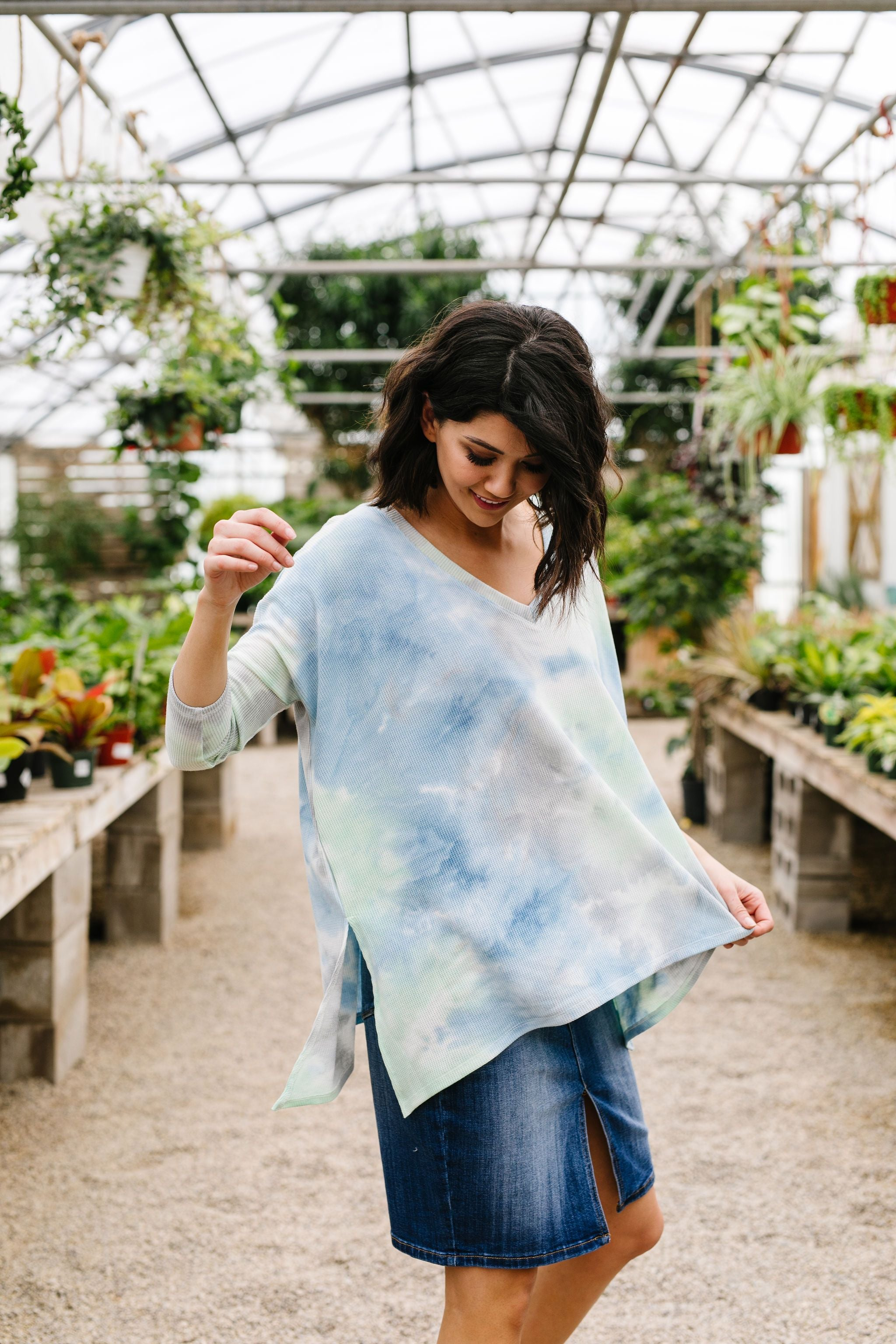 Stormy Day Ribbed Tie Dye Top