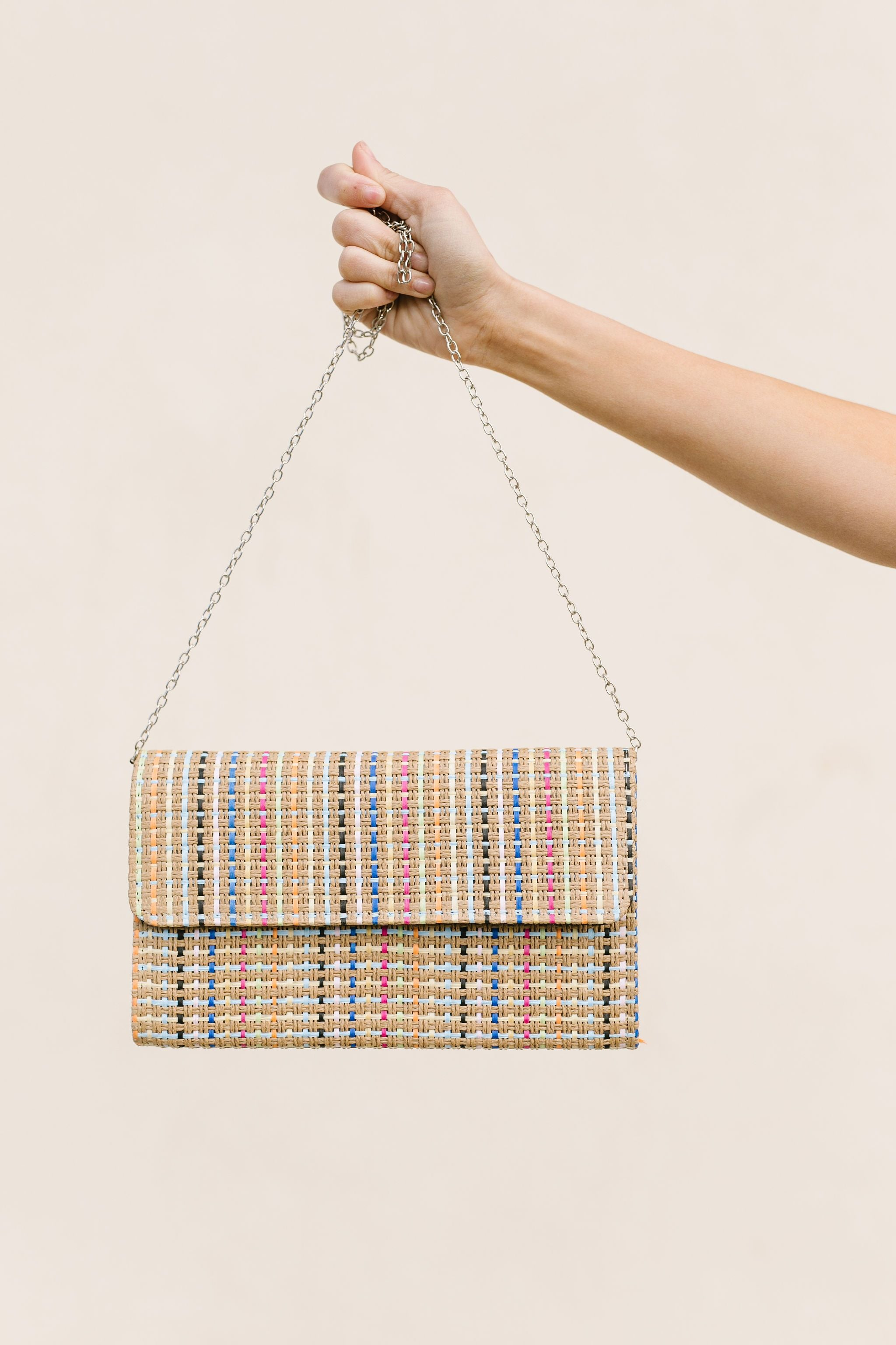 Striped Straw Crossbody Clutch