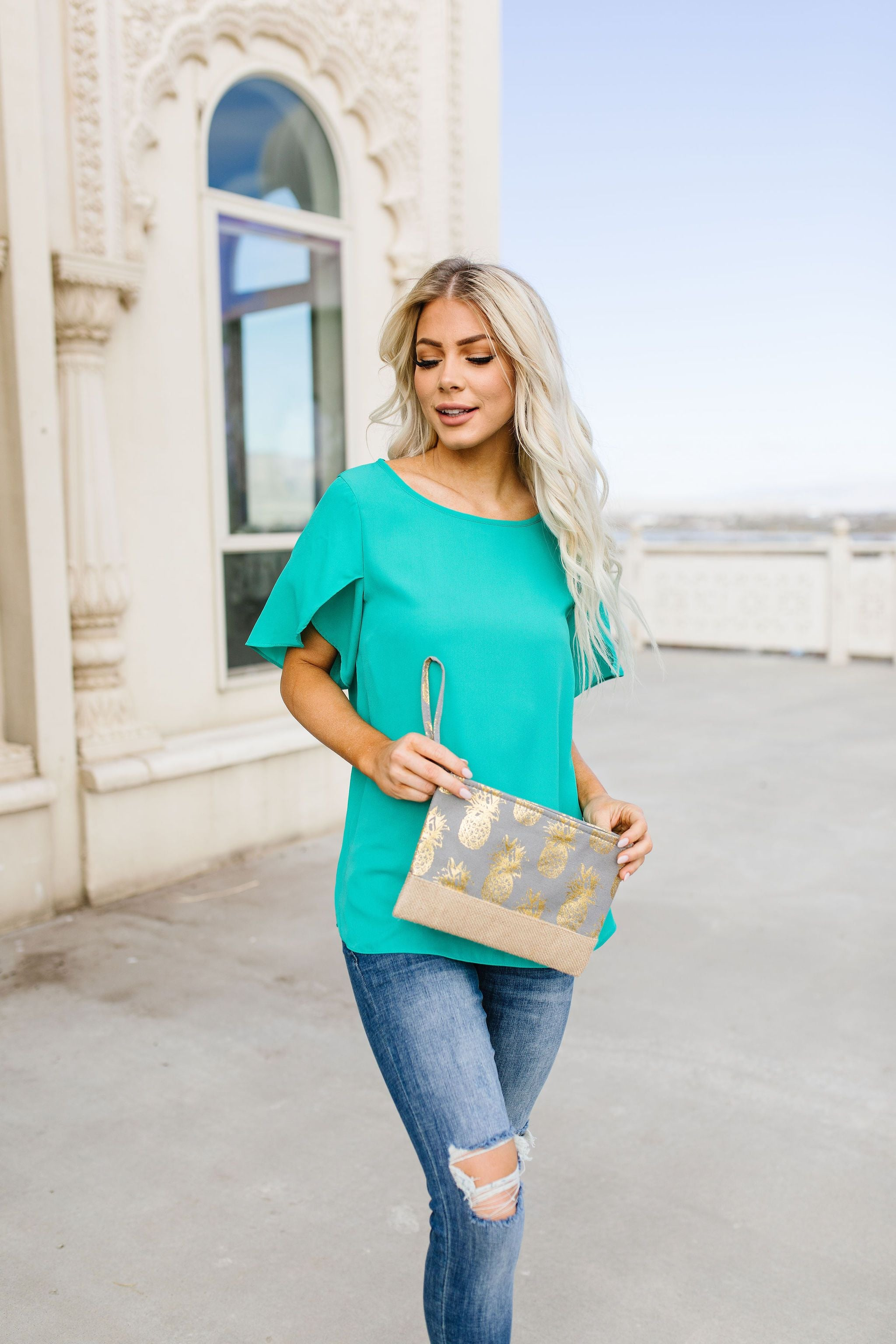 Tulip Sleeve Blouse In Kelly Green