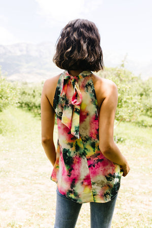 Watercolor Tie Dye Garden Halter Top