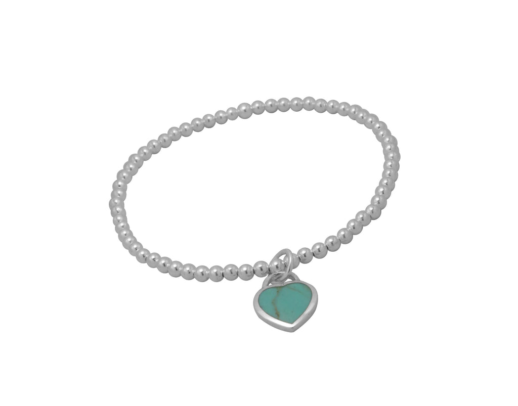 3mm Ball Bracelet with Small Turquoise Heart