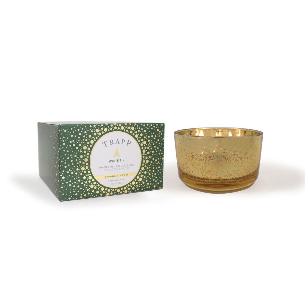 White Fir – 16oz 3-Wick Gold Glass Candle