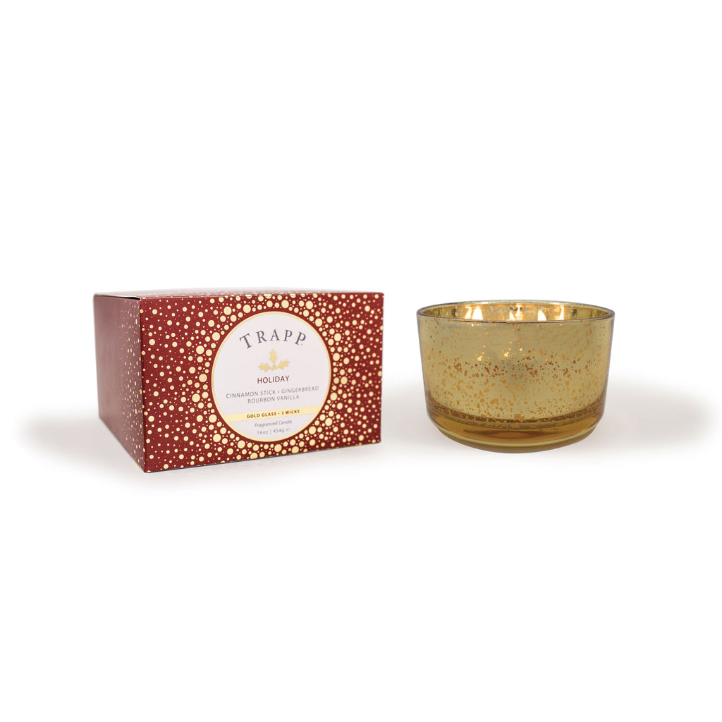 Holiday – 16oz 3-Wick Gold Glass Candle
