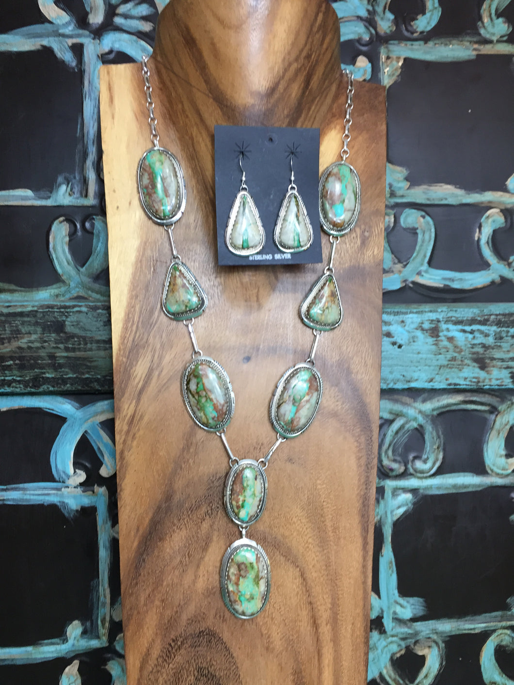 Boulder Turquoise Necklace with Earrings Set