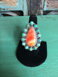 Orange Spiny Oyster Teardrop with Blue Snake Eye Ring