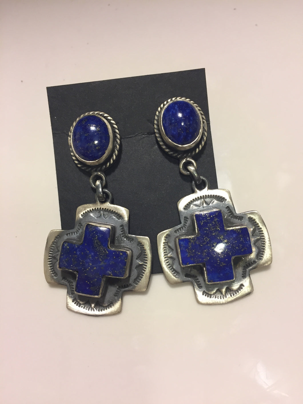 Lapis Sterling Silver button earrings