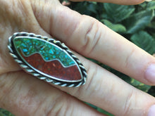 Vintage inlay Turquoise and coral ring