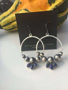 """Lapis Tear"" navajo pearls and Lapis earrings"