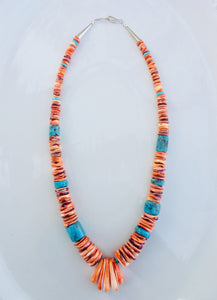 Spiny Oyster and Turquoise Beaded Necklace