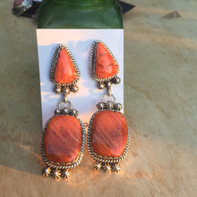 Outstanding orange spiny oyster ear rings