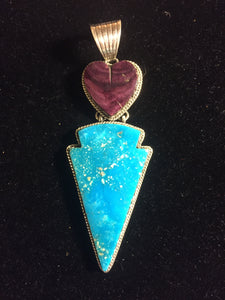 Purple spiny oyster heart and Turquoise arrow