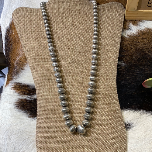Vintage sterling silver stamped bead necklace