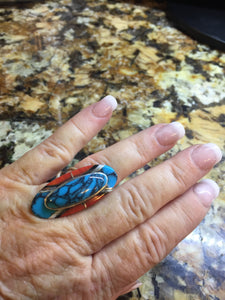 Inlay Turquoise, coral, black onxy