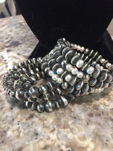 Memory wire bracelets: Sterling or Sterling and pearls