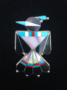 """The Zuni inlay large Thunderbird pin/ pendant"