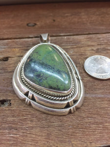 Large heavy Sterling Silver green Turquoise pendant