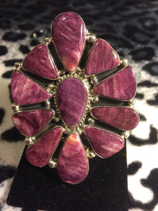 Huge Purple Spiny Oyster Flower Cluster Ring