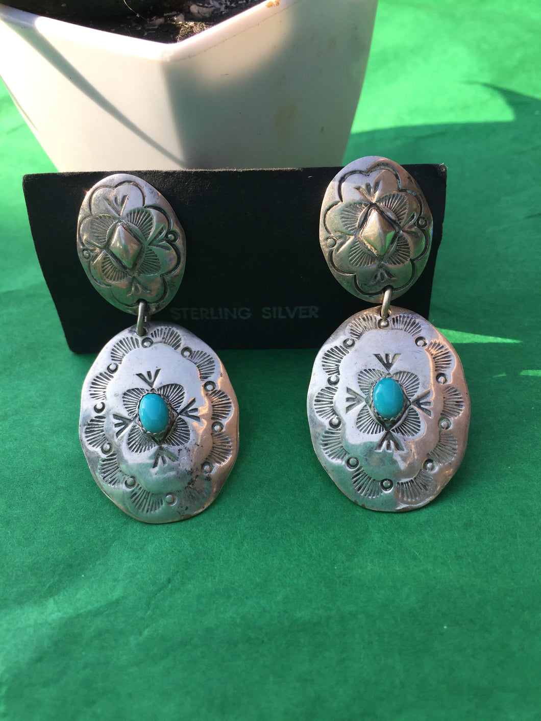 Vintage clip concho earrings