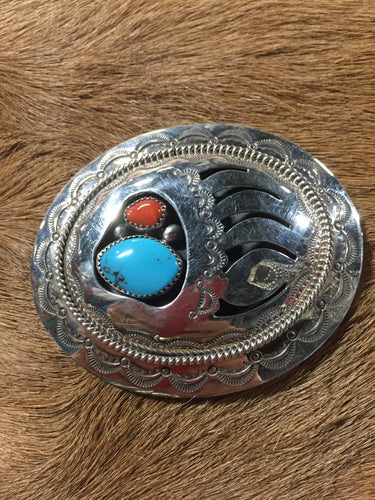 Turquoise and Corral belt bucklet
