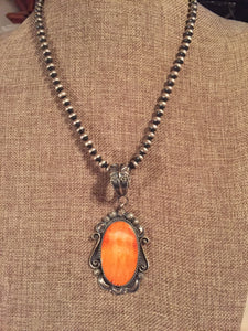 4 inch orange spiny oyster pendant #1