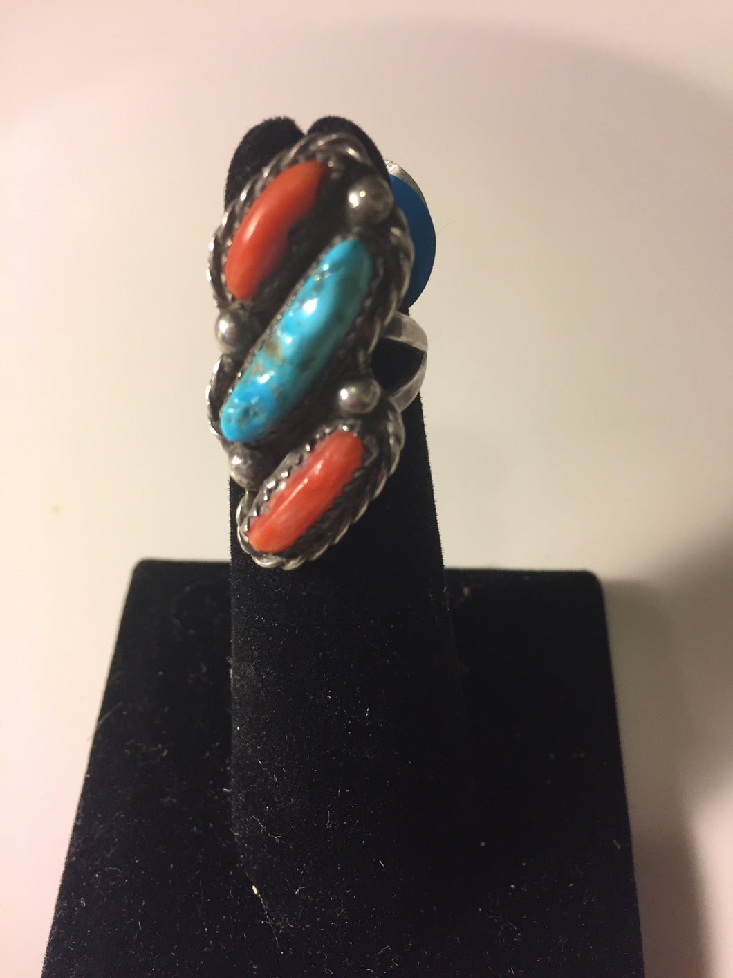 Vintage 2 piece coral and Turquoise ring