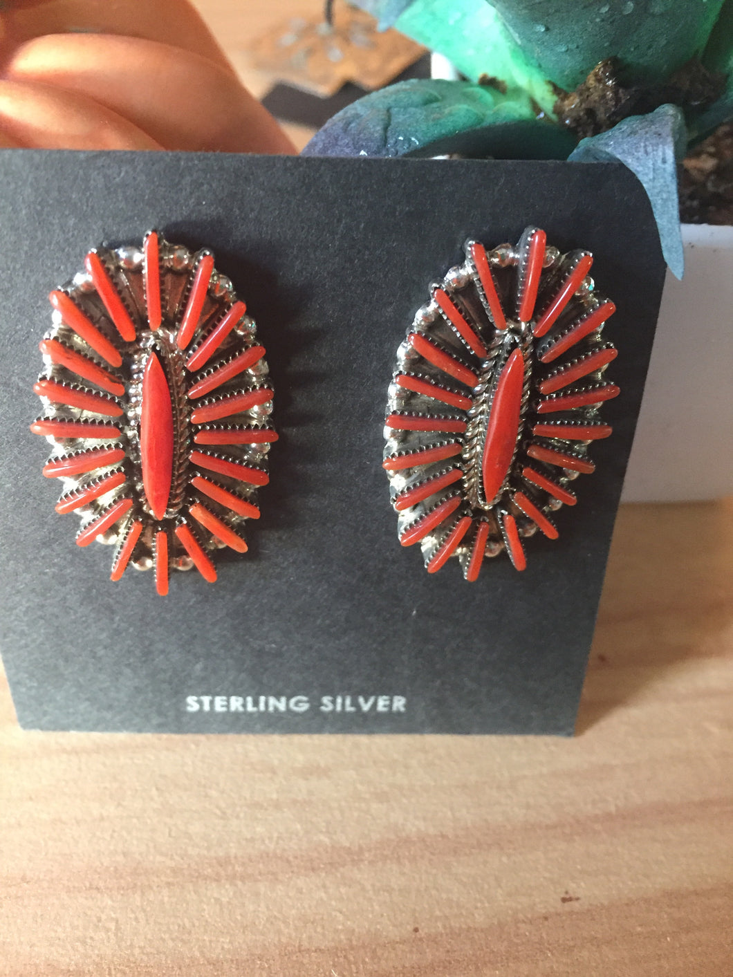 Red coral Zuni earrings