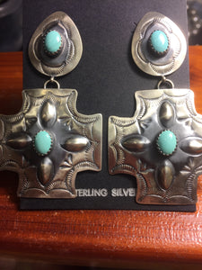 Large Antiqued 4 Turquoise Stones Cross Earrings