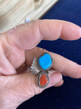 Vintage Turquoise and snake eye coral ring