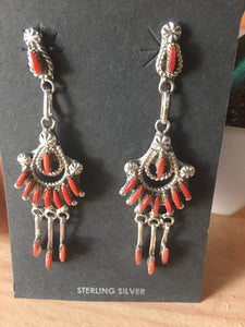 Extremely ornate Red Corral dangle earrings