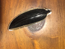 Black onyx carved feather