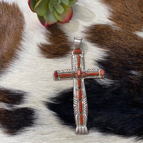 Very large, heavy sterling silver cross with Red Coral
