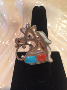 Inlay horse Turquoise , Corral , mother of pearl