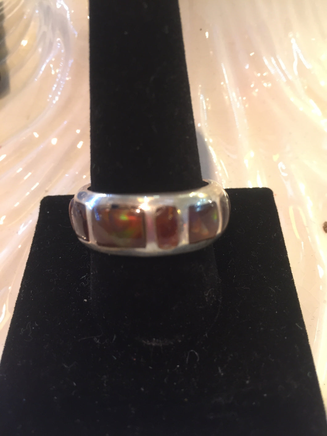 Fire opal wedding band ring