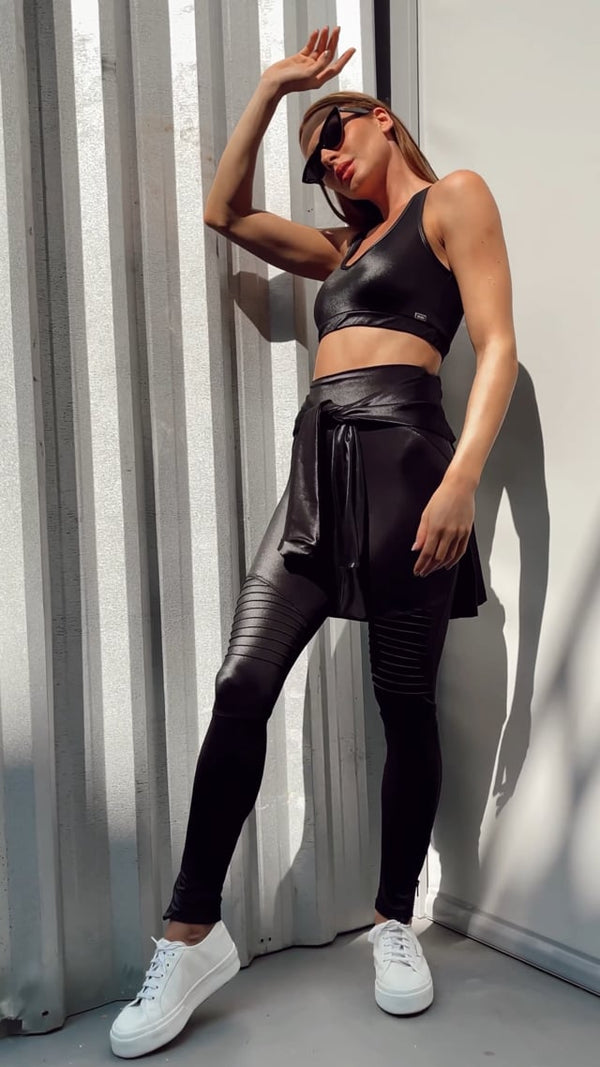 High-Waist Biker Leggings Compression Shine Black