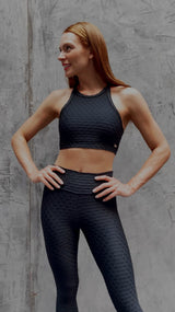 High Waist Leggings Compression Texture Scallop