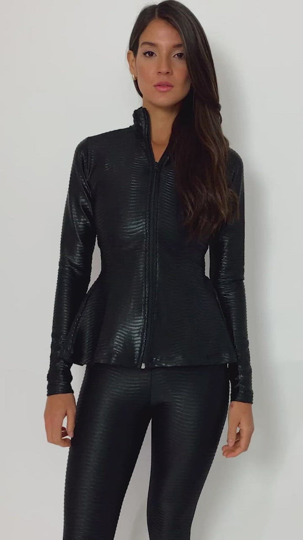 Zip Up Sports Jacket Peplum Shine Black