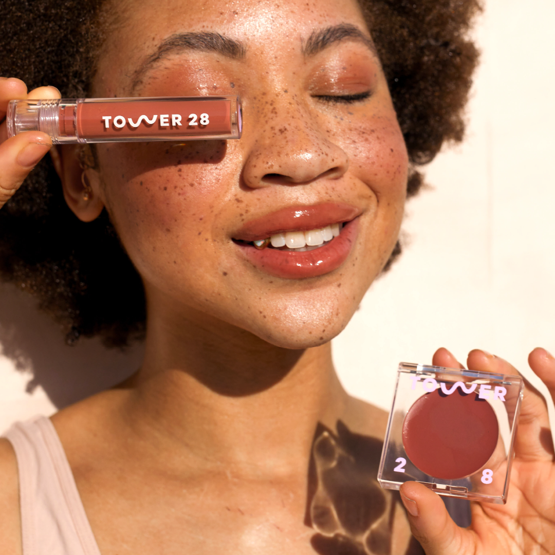 Tower 28 Beauty Power Duo Lip + Cheek Set - Full Size ShineOn Milky Lip Jelly in Cashew, Full-Size BeachPlease Tinted Cream Blush Balm in Power Hour