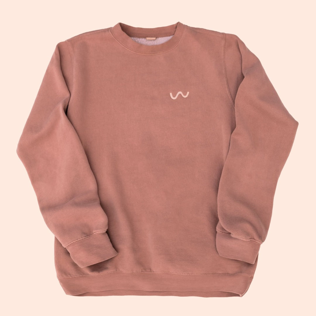 Tower 28 Beauty Crewneck Sweatshirt Milky Edition - rosy brown sweatshirt with signature wave motif embroidered in light rosy thread on upper left chest area