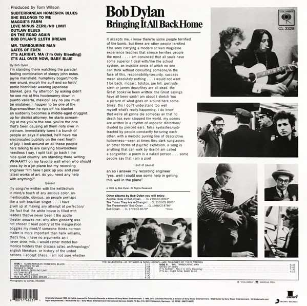 Bob Dylan - Bringing It All Back Home (Mono) [LP] (180 Gram) Back
