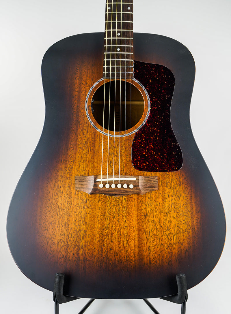 Guild D-20E Dreadnought Acoustic-Electric Guitar - Vintage Sunburst The D-20, is a dreadnought acoustic guitar built with solid mahogany top, back, and sides